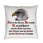 Biker Leather Eagle Prayer Everyday Pillow
