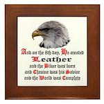 Biker Leather Eagle Prayer Framed Tile