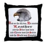 Biker Leather Eagle Prayer Throw Pillow