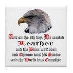 Biker Leather Eagle Prayer Tile Coaster