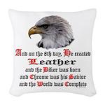 Biker Leather Eagle Prayer Woven Throw Pillow