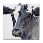 Black Cow Tile Coaster