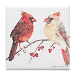 Cardinal Birds Tile Coaster
