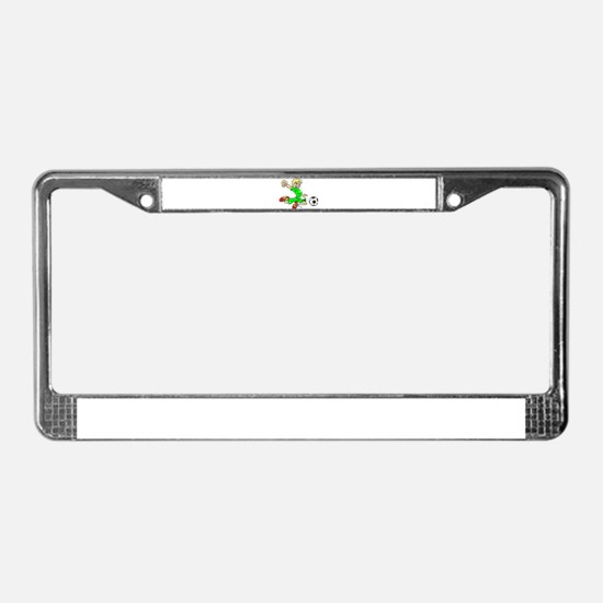 SOCCER BOY GREEN BLONDE License Plate Frame