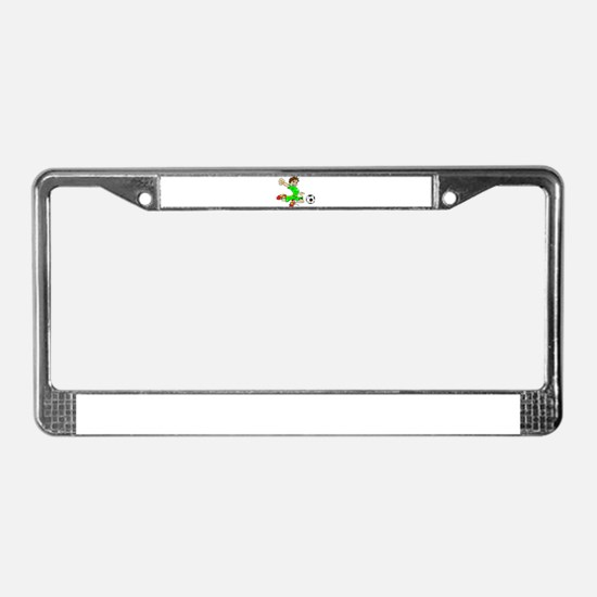 SOCCER BOY GREEN License Plate Frame