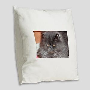 persian blue Burlap Throw Pillow