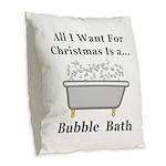 Christmas Bubble Bath Burlap Throw Pillow
