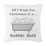 Christmas Bubble Bath Woven Throw Pillow
