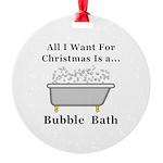 Christmas Bubble Bath Round Ornament