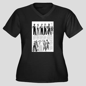 Vintage Ad 4 Women's Plus Size V-Neck Dark T-Shirt