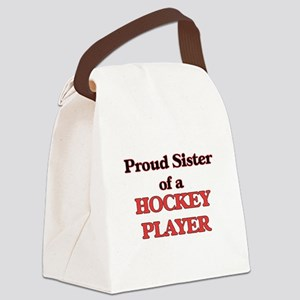 Proud Sister of a Hockey Player Canvas Lunch Bag