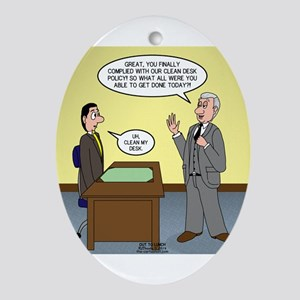 Clean Desk Policy Oval Ornament