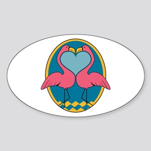 Flamingo Heart Design Oval Sticker