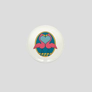 Flamingo Heart Design Mini Button