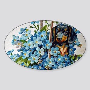 Dachshund and Forget-Me-Nots Sticker