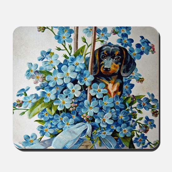 Dachshund and Forget-Me-Nots Mousepad