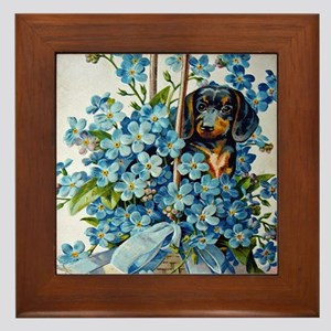 Dachshund and Forget-Me-Nots Framed Tile