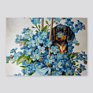 Dachshund and Forget-Me-Nots 5'x7'Area Rug