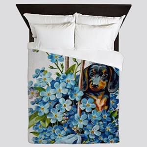 Dachshund and Forget-Me-Nots Queen Duvet