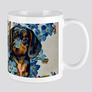 Dachshund and Forget-Me-Nots Mugs