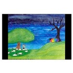 Large The Rainbow-Colored Sheep Poster (border A)