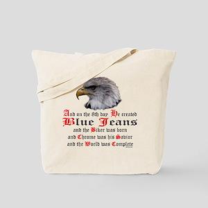 Biker Blue Jeans Eagle Prayer Tote Bag