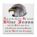 Biker Blue Jeans Eagle Prayer Tile Coaster