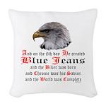 Biker Blue Jeans Eagle Prayer Woven Throw Pillow