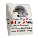 Biker Blue Jeans Eagle Prayer Burlap Throw Pillow