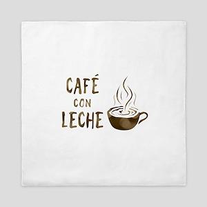 cafe con leche Queen Duvet