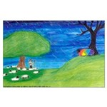 Large The Rainbow-Colored Sheep Poster full bleed