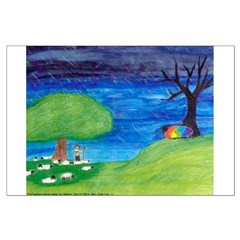 Large The Rainbow-Colored Sheep Poster (Border B)