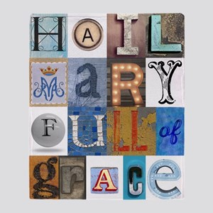 Hail Mary Full of Grace Letters Throw Blanket