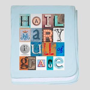Hail Mary Full of Grace Letters baby blanket