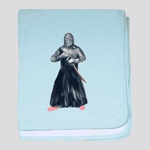 Kendoka Kendo Swordsman Watercolor baby blanket