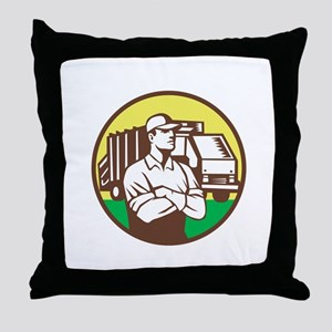Garbage Collector Rubbish Truck Circle Retro Throw