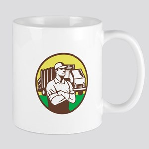 Garbage Collector Rubbish Truck Circle Retro Mugs