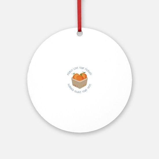Love Peaches Round Ornament