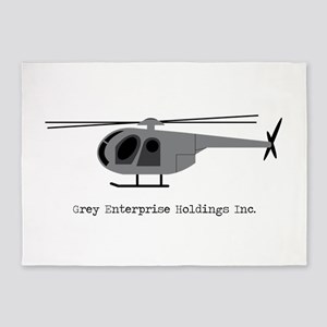 Grey Helicopter 5'x7'Area Rug