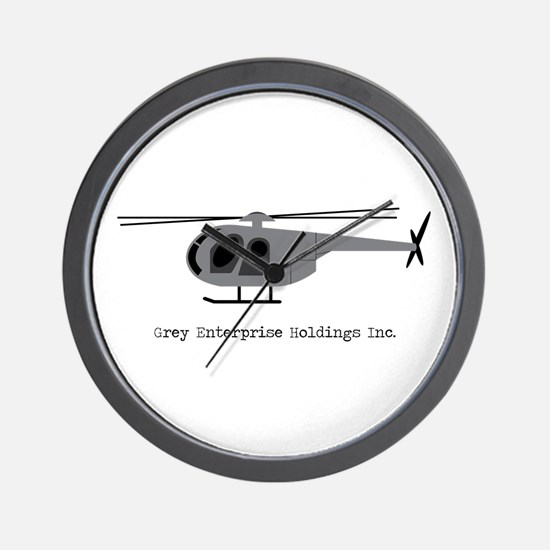Grey Helicopter Wall Clock