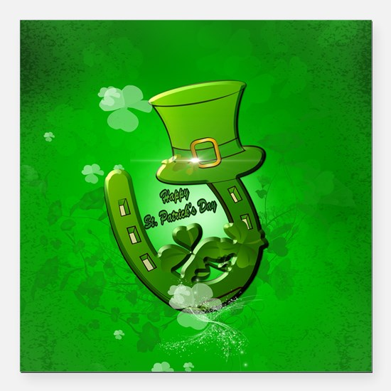 "Happy St. Patrick's Day Square Car Magnet 3"" x 3"""