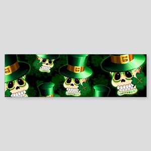 St Patrick Skull Cartoon Bumper Sticker