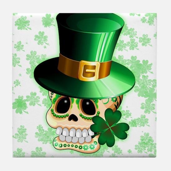 St Patrick Skull Cartoon Tile Coaster