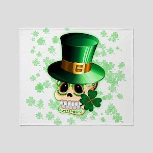 St Patrick Skull Cartoon Throw Blanket