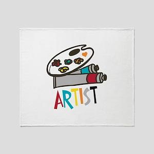 Artist Paints Throw Blanket