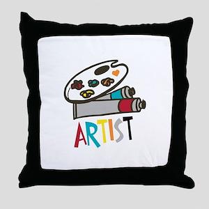 Artist Paints Throw Pillow