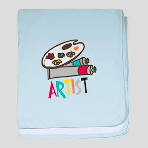 Artist Paints baby blanket