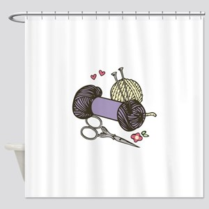 Knitting Yarn Shower Curtain