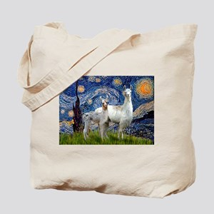 Starry Night Llama Duo Tote Bag
