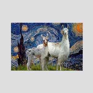 Starry Night Llama Duo Rectangle Magnet